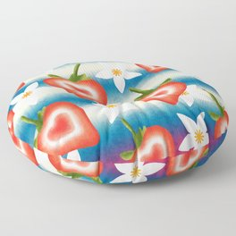 Sweet cute ripe red sliced summer strawberries and white pretty strawberry blossoms fruity floral distressed bright white and blue pattern design. Floor Pillow