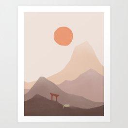 Good Morning Meow 5 - Mount of Japan Art Print