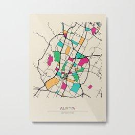 Colorful City Maps: Austin, Texas Metal Print