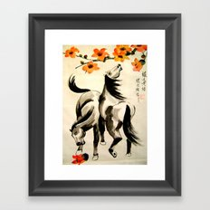 horses under floral tree Framed Art Print