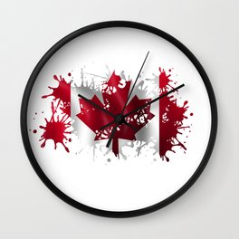 Canadian Splatter Wall Clock