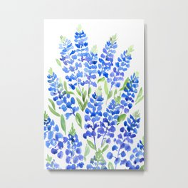 Watercolor Texas bluebonnets Metal Print
