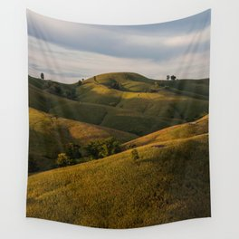 Rolling green Fairytale Hills English Countryside Landscape Wall Tapestry