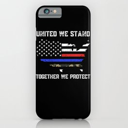 Thin Blue Red Camo Line Police Firefighter Military Flag iPhone Case