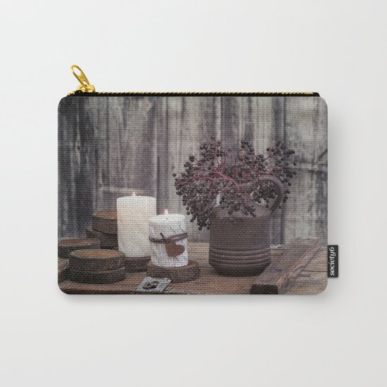 Autumn Still Life with berries and candles Carry-All Pouch
