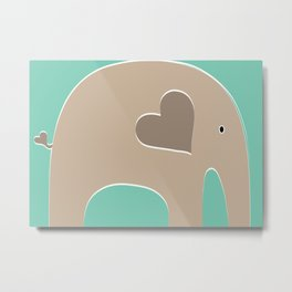 Turquoise Safari Elephant Metal Print