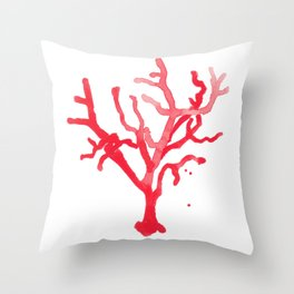 Red Coral II Throw Pillow