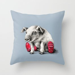 Piggy in Welly Throw Pillow