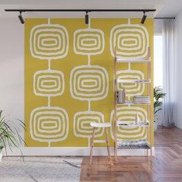 Mid Century Modern Atomic Rings Pattern 771 Mustard Yellow Wall Mural