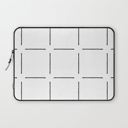 Block Print Simple Squares in Black & White Laptop Sleeve