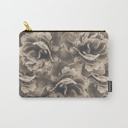 Sepia Peony Flower Bouquet #1 #floral #decor #art #society6 Carry-All Pouch