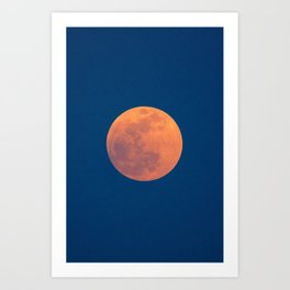 Red Moon, Moon, Blue Sky And Orange Art Print