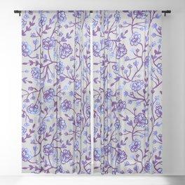 Watercolor Peonies - Periwinkle Sheer Curtain