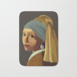Wearing her Sister's Pearl Earring Bath Mat