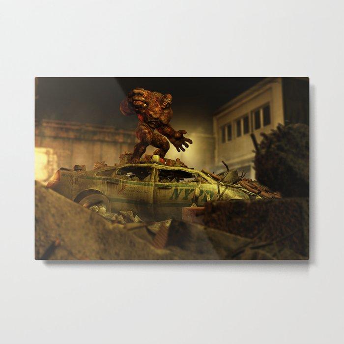 The Infernal Behemoth - Hell in The City - Fantasy  Artwork Metal Print