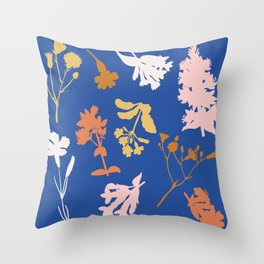 Wild Flower Silhouettes Throw Pillow