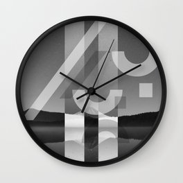 Mountain Lake On a Stary Sight Wall Clock