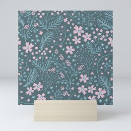 Pink Floral Ditsy Print on Forest Green Background Mini Art Print