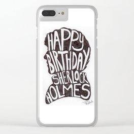 Happy Birthday Sherlock Holmes 2017 Biro Doodle Clear iPhone Case