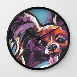 Fun Papillon portrait Dog bright colorful Pop Art Wall Clock