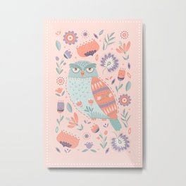 Folk Art Owl in Pink Metal Print