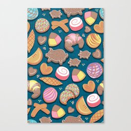 Mexican Sweet Bakery Frenzy // turquoise background // pastel colors pan dulce Canvas Print