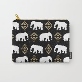 Elephant modern pattern print black gold glitter minimal with tribal influence gender neutral Carry-All Pouch