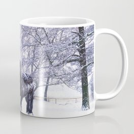 Black beauty horse in winter landscape Coffee Mug