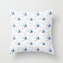 Adorable Dutch hippos in Delft blue style Throw Pillow