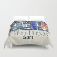 surfboard Duvet Covers featuring Chillax Surfboard by Christine Parrish Coastal Designs