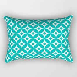 Turquoise and white elegant tile ornament pattern and white elegant tile ornament pattern Rectangular Pillow