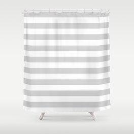 Narrow Horizontal Stripes - White and Light Gray Shower Curtain
