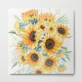 Loose Watercolor Sunflowers Metal Print