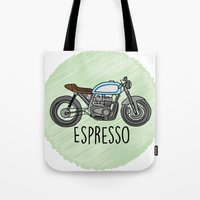 cafe racer Tote Bags featuring Espresso - Cafe Racer by Andre Gascoigne