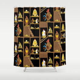 Chicken Coop - by Kara Peters - chickens, farm, illustration, birds Shower Curtain