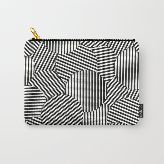 Striped Disc Pattern - Black and White Carry-All Pouch