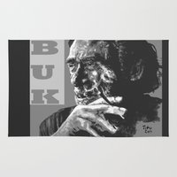 popart Area & Throw Rugs featuring Charles Bukowski -Popart - bw by ARTito