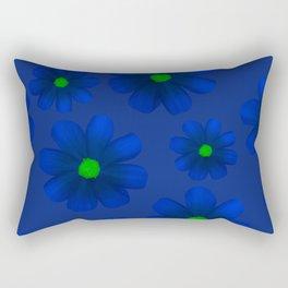 Blue Flowers Beautiful Pattern Rectangular Pillow