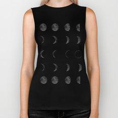Moon Phases, Black White Decor, Bohemian, Magic, Lunar Cycle Biker Tank