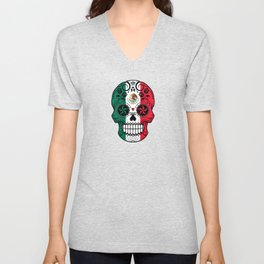 Sugar Skull with Roses and Flag of Mexico Unisex V-Neck