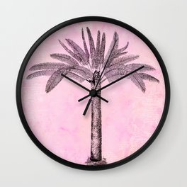 Pink Retro Palmtree Wall Clock