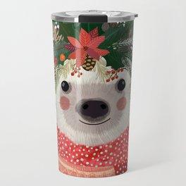 Hedgehog with Christmas Flowers Travel Mug