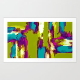 blue pink purple painting abstract with green background Art Print