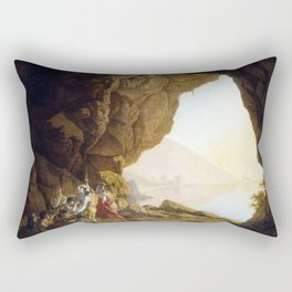 Joseph Wright of Derby Grotto by the Seaside in the Kingdom of Naples with Banditti, Sunset Rectangular Pillow