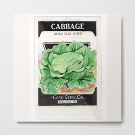Cabbage Seed Packet Metal Print