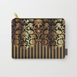 Gold and Black Damask and Stripe Design Carry-All Pouch