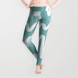 Squiggles . Turquoise Leggings