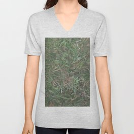 grass lawn texturized for background and texture Unisex V-Neck