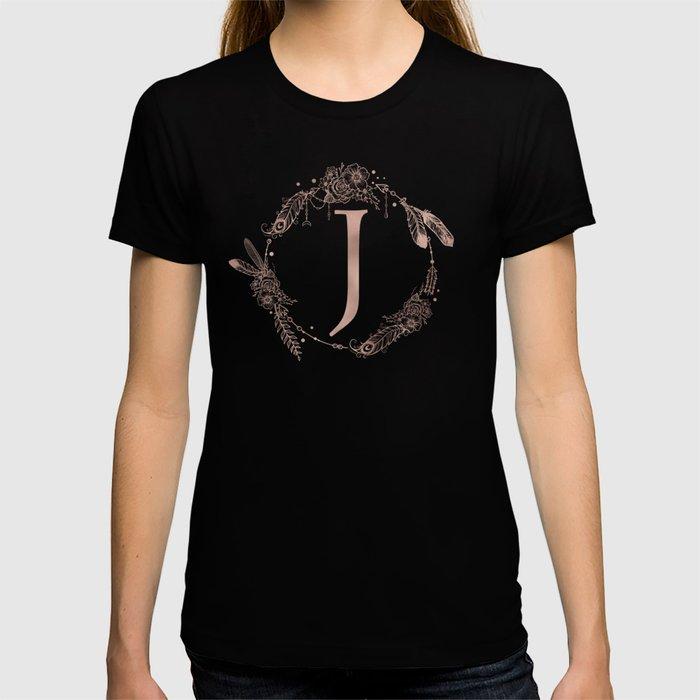 Letter J Rose Gold Pink Initial Monogram T-shirt