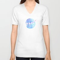 nasa V-neck T-shirts featuring NASA by Justin Cybulski